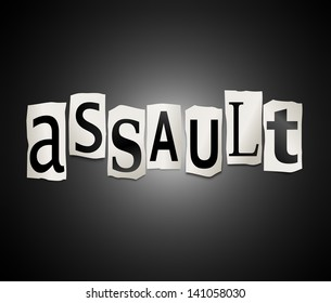 Illustration depicting a set of cut out printed letters arranged to form the word assault.