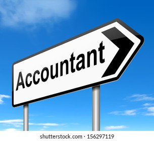 Illustration depicting a sign with an accountant concept.