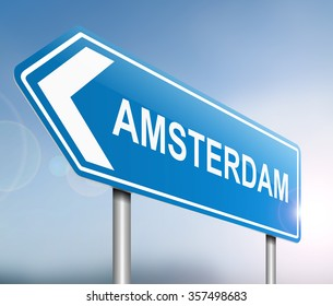 Illustration depicting a sign with an Amsterdam concept.