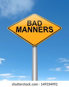 Illustration depicting a sign with a bad manners concept.