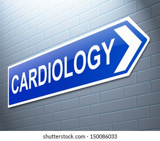 Illustration depicting a sign with a Cardiology concept.