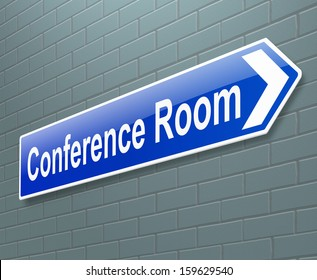 Illustration depicting a sign with a conference concept.