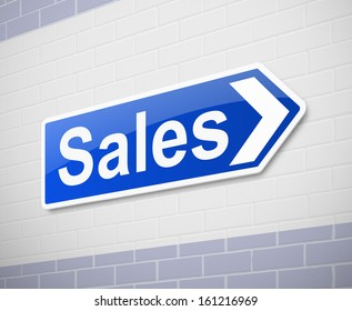 Illustration depicting a sign directing to sales.