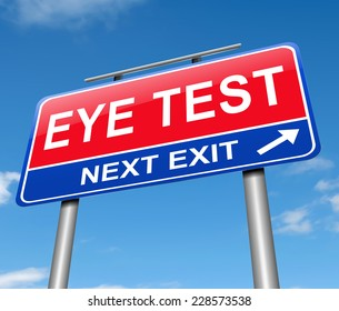 Illustration depicting a sign with am eye test concept.