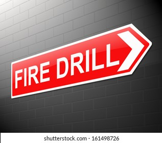 Illustration depicting a sign with a fire drill concept.