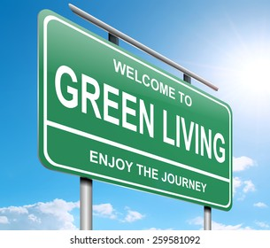 Illustration depicting a sign with a green living concept.