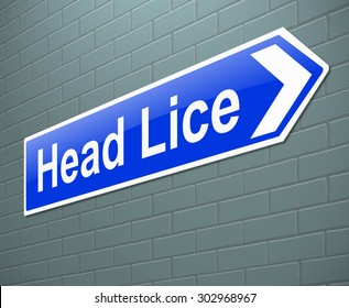 Illustration depicting a sign with a head lice concept.