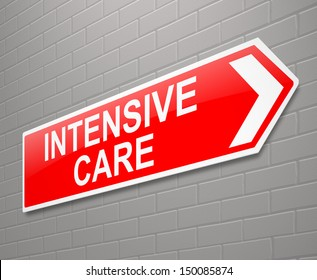 Illustration depicting a sign with an Intensive Care concept.