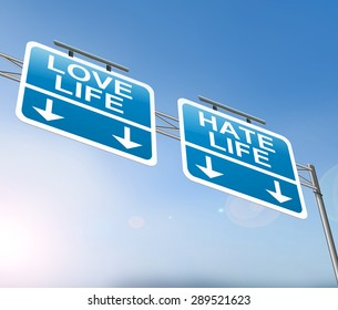 Illustration depicting a sign with a love or hate life concept.