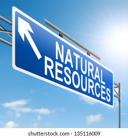 Illustration depicting a sign with a natural resources concept.