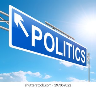 Illustration depicting a sign with a politics concept.