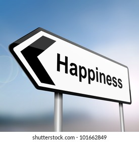 illustration depicting a sign post with directional arrow containing a happiness concept. Blurred background.