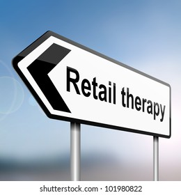 illustration depicting a sign post with directional arrow containing a retail therapy concept. Blurred background.
