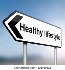 illustration depicting a sign post with directional arrow containing a healthy lifestyle concept. Blurred background.