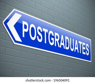 Illustration depicting a sign with a postgraduate concept.