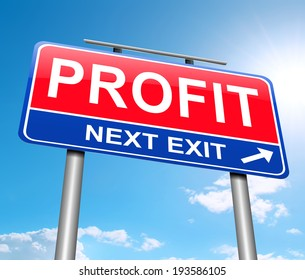 Illustration depicting a sign with a profit concept.