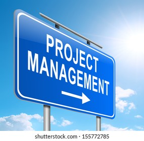 Illustration depicting a sign with a project management concept.