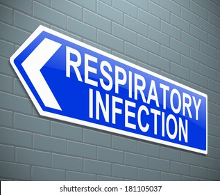 Illustration depicting a sign with a respiratory infection concept.