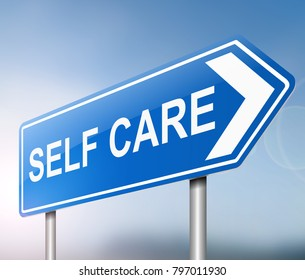 Illustration depicting a sign with a self care concept.