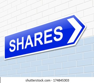 Illustration depicting a sign with a shares concept.