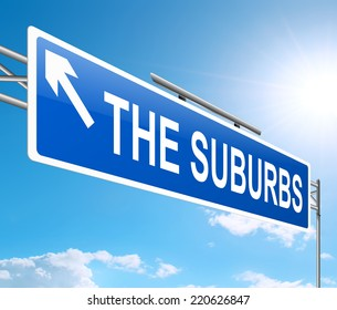 Illustration depicting a sign with a suburbia concept.
