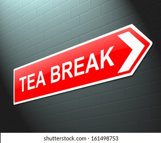 Illustration depicting a sign with a tea break concept.