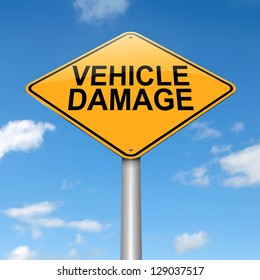 Illustration depicting a sign with a vehicle damage concept.