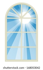 Illustration depicting the sun shining through a tall rounded window. Raster.