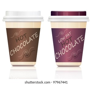 Illustration depicting two hot chocolate take out containers arranged over white.