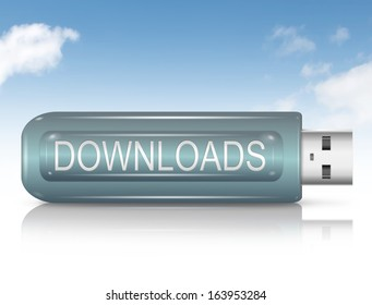 Illustration depicting a usb flash drive with a downloads concept.