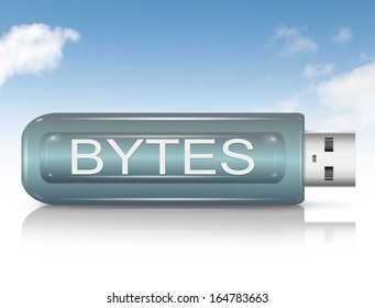 Illustration depicting a usb flash drive with a Byte concept.