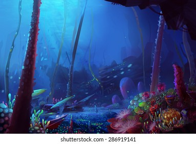 Illustration: The Depth of the Ocean. Silent, dark yet beautiful. - Scene Design - Fantastic