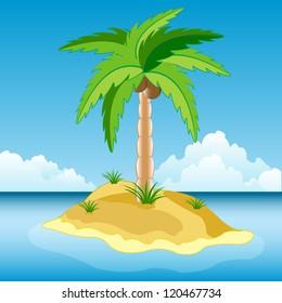 Illustration of the desert island in ocean.Raster version