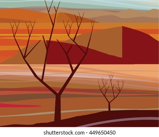 Illustration of the Desert in warm orange colors
