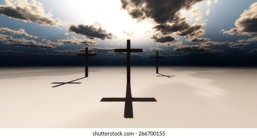 illustration of a desert and wooden crosses