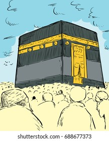 Illustration of devout Muslim pilgrims assembled around the Kaaba in Mecca, Arabia