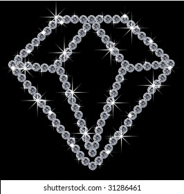 illustration of a diamond sign, made by diamonds