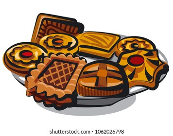 illustration of different cookies and pastries on plate