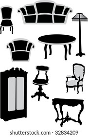 illustration with different furniture collection