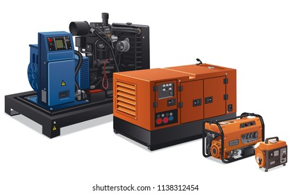 illustration of different type of industrial power generators