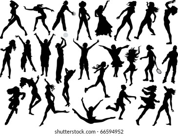 illustration with different women silhouettes