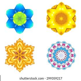 Illustration: Digital Art: Fractal Graphics: The Lord of Flower Rings Series 3. Element / Game Asset Design. Fantastic Style.