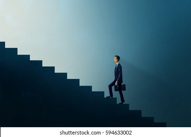 Illustration digital art painting, business concept, businessman walking up on step forward glow light, representing to brighter future, challenge or opportunity.