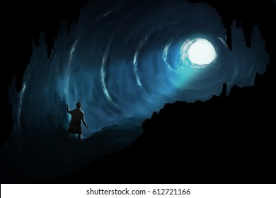 Illustration digital art painting, man walk in deep cave seeing glowing light at the exit, represent to proverb, there is a light at the end of the tunnel.
