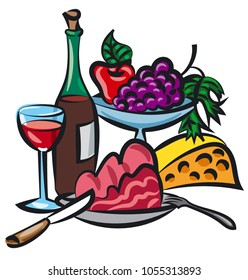 illustration of dinner with wine, meat and cheese