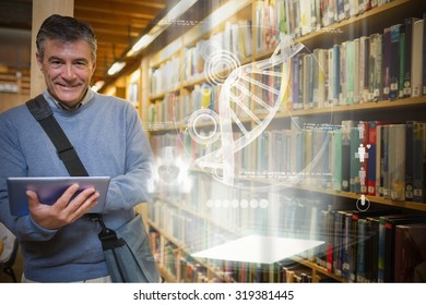 Illustration of DNA against man smiling while holding tablet pc