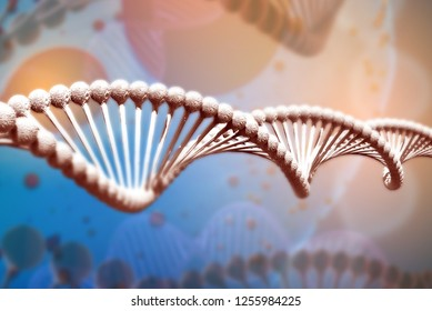 Illustration of DNA molecule. The helical molecule of a nucleotide in the environment of the organism. The concept of the discovery of genetically modified