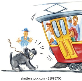 illustration of dog attacking the tram