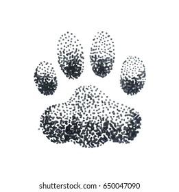 Illustration of doodle halftone illustration with dog paw print isolated on white background