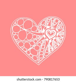 Illustration of doodle hand drawn heart. White heart on pink background. Card for Saint Valentines Day. Symbol of love. Heart in zentangle style.